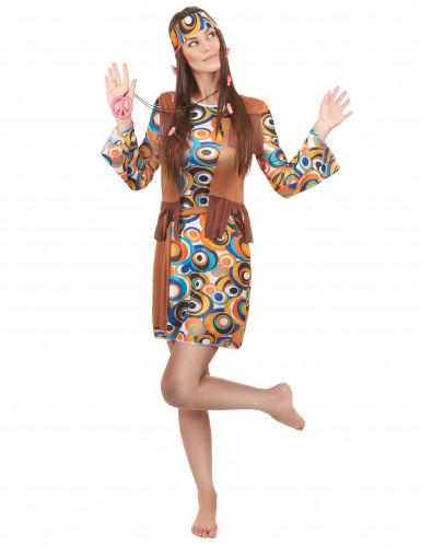 Flower power psychedelisch kostuum voor vrouwen