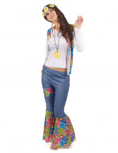 Driekleurig Flower Power hippie pak voor vrouwen