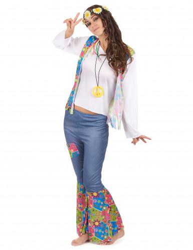 Driekleurig Flower Power hippie pak voor vrouwen-1