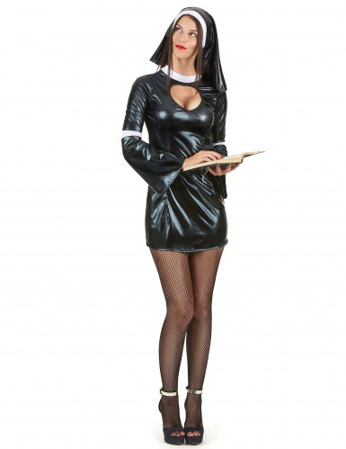 Sexy nonnen kostuum in latex look