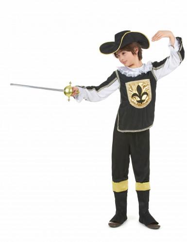 Zwart en goudkleurig musketier kostuum voor jongens-1