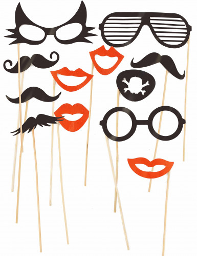 Photobooth set met 12 snorren, lippen en brillen