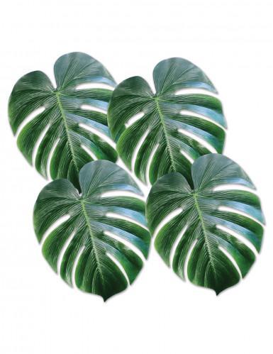 4 groene plastic palmbladeren