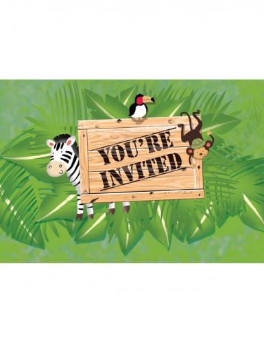Set van 8 uitnodigingen en enveloppen Safari Avontuur