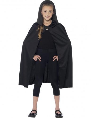 Zwarte cape met capuchon en voor kinderen-1