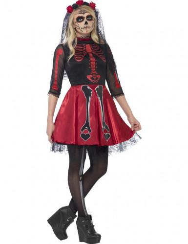 Rood skeletten Halloween kostuum voor tieners