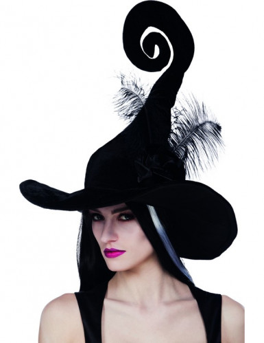 Originele heksen hoed met veren voor vrouwen Halloween