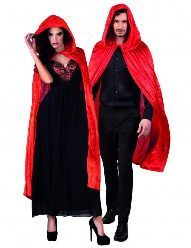 Rode cape met velours effect volwassenen Halloween