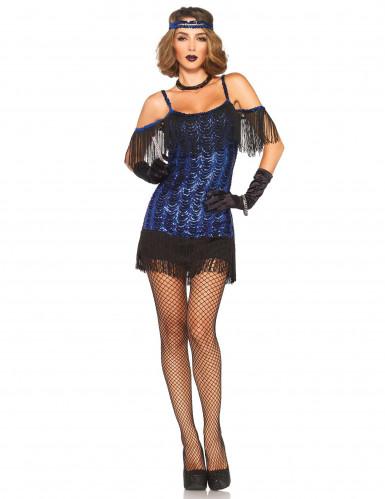 Blauw charleston kostuum met lovertjes voor vrouwen