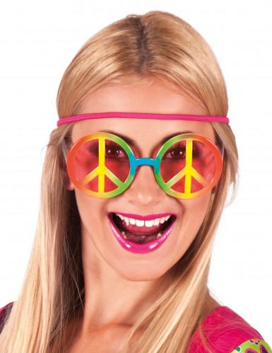 Hippie Flower Power bril voor volwassenen