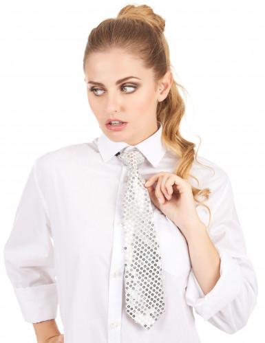 Zilverkleurige stropdas met lovertjes voor volwassenen-1