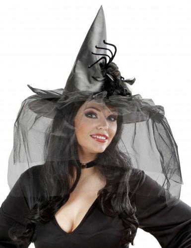 Heksen hoed met tulle en spinnen dames Halloween