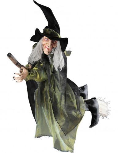 Halloween decoratie vliegende heks op bezem