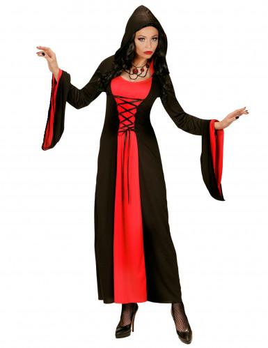 Rood en zwart gravin kostuum met capuchon voor vrouwen