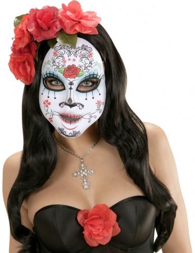 Gekleurd roosje masker voor volwassenen