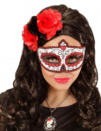 Rood glittermasker Día de los muertos