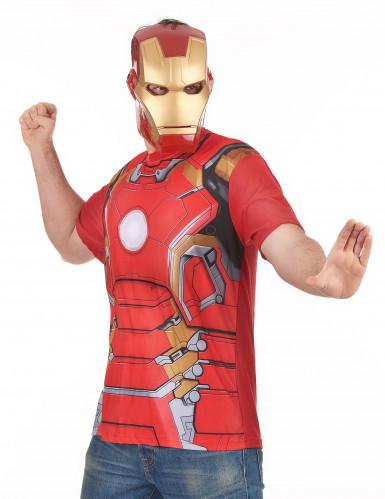 T-shirt en masker van Iron Man™ movie 2 voor volwassenen
