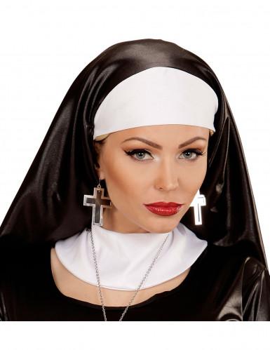 Zwart en zilverkleurig kruis oorbellen voor vrouwen