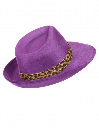Paarse pimp hoed voor volwassenen -2