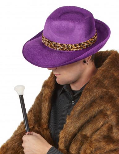 Paarse pimp hoed voor volwassenen -1