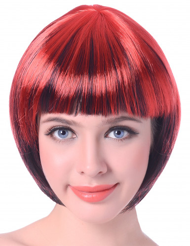 Korte rood zwarte pruik voor dames