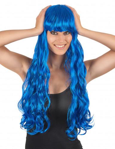 Lange blauwe pruik voor dames