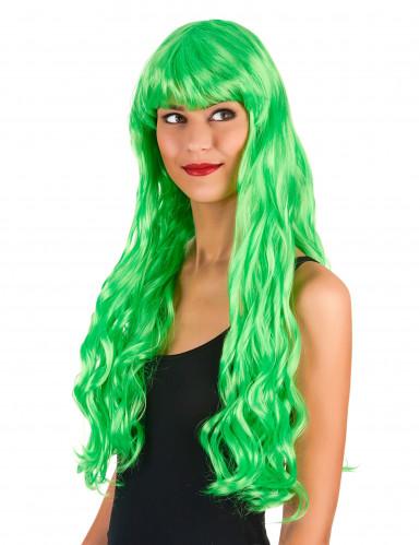 Lange gekrulde fluo groene pruik voor vrouwen