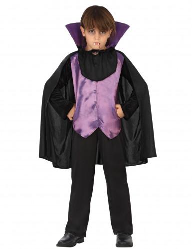 Zwart-paars vampier Halloween kostuum voor jongens