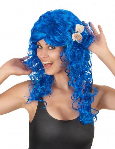 Lange donkerblauwe dames pruik