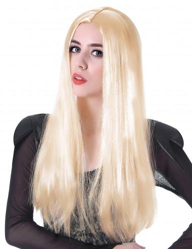 Lange blonde pruik met scheiding voor vrouwen