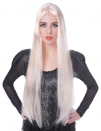 Zeer lange steile blonde pruik voor dames