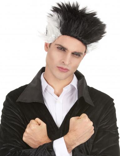 Zwart met witte vampier pruik voor mannen