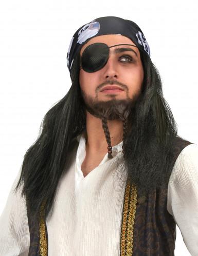 Piraten pruik met hoofddoekje voor volwassenen