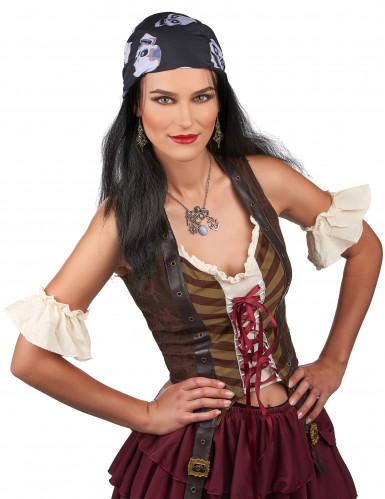 Piraten pruik met hoofddoekje voor volwassenen -1