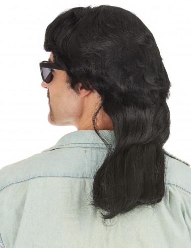 Zwarte mullet pruik met lang matje voor mannen-1