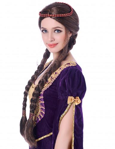 Middeleeuwse pruik met lange vlechten voor dames