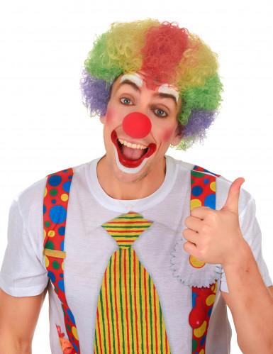 Veelkleurig afro clown pruik voor volwassenen-1