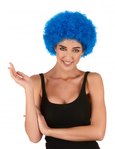 Blauwe afro / clown pruik standaard volwassenen