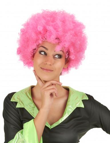 Roze afro / clown pruik voor volwassenen - Comfort-1