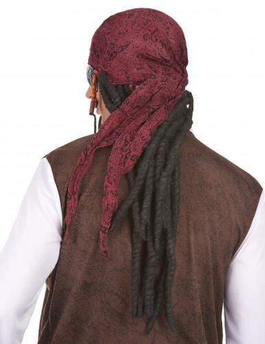 Lange piraten pruik met hoofddoekje voor volwassenen-1