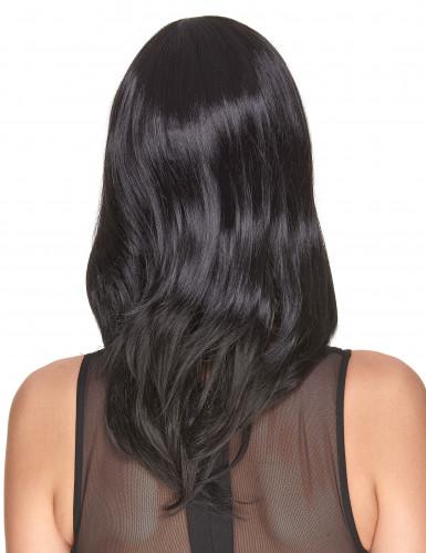 Luxe halflange zwarte pruik voor dames-1