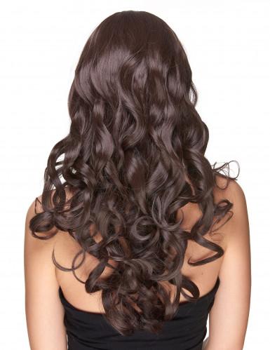 Luxe lange donkerbruine pruik met golvend haar-1