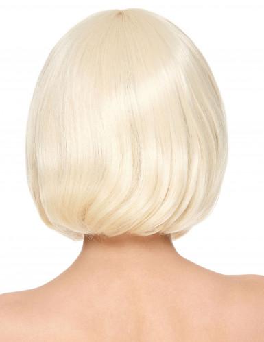 Luxe korte blonde pruik met pony voor vrouwen-1