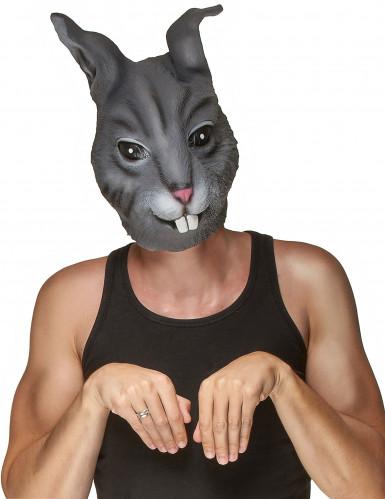 Grijs konijn masker van latex voor volwassenen