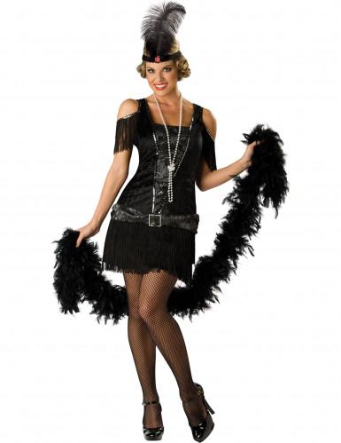 Zwart Charleston kostuum voor dames - Premium