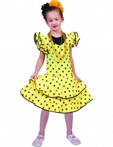 Geel flamencokostuum met stippen voor meisjes