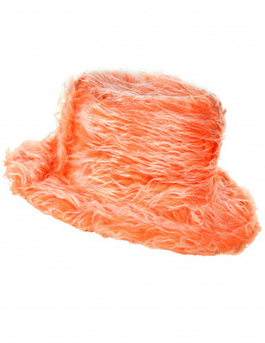 Oranje pluizige hoed voor volwassenen