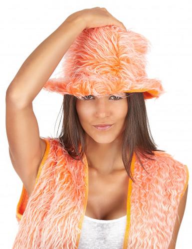 Oranje pluizige hoed voor volwassenen -1