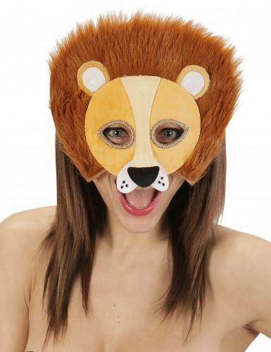 Pluche leeuwen halfmasker voor volwassenen