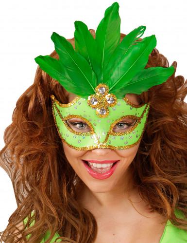 Groen masker met veren voor vrouwen